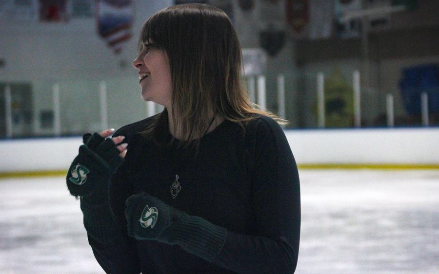 Sac+State+graduate+student+Samantha+Mapes+laughs+as+she+rehearses+a+holiday+production+she+is+putting+on+at+the+end+of+the+year+with+her+co-choreographer+Melanie+Hern.+Mapes+has+been+skating+all+her+life+and+got+the+opportunity+to+perform+with+Disney+on+Ice+for+several+years.