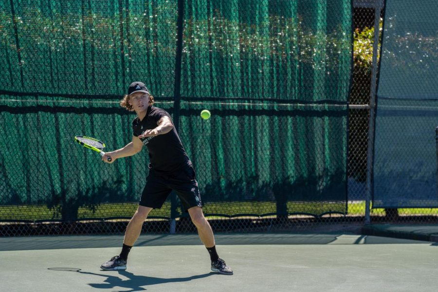 Playing on court four on March 15 against Yale University, Sac State men's tennis player Johannes Gjerdaker managed to score a seventh straight singles win. Gjerdaker is originally from Norway.