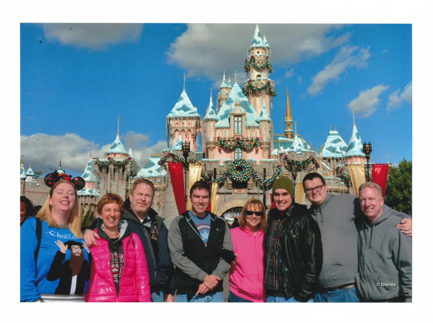 My+family+on+the+right+with+my+paternal+cousin%2C+aunt+and+uncle+on+the+left+at+Disneyland+in+Anaheim%2C+California+on+Christmas+Eve+2016.+Our+family%27s+trip+that+day+would+be+my+mom%27s+last+Christmas+present.
