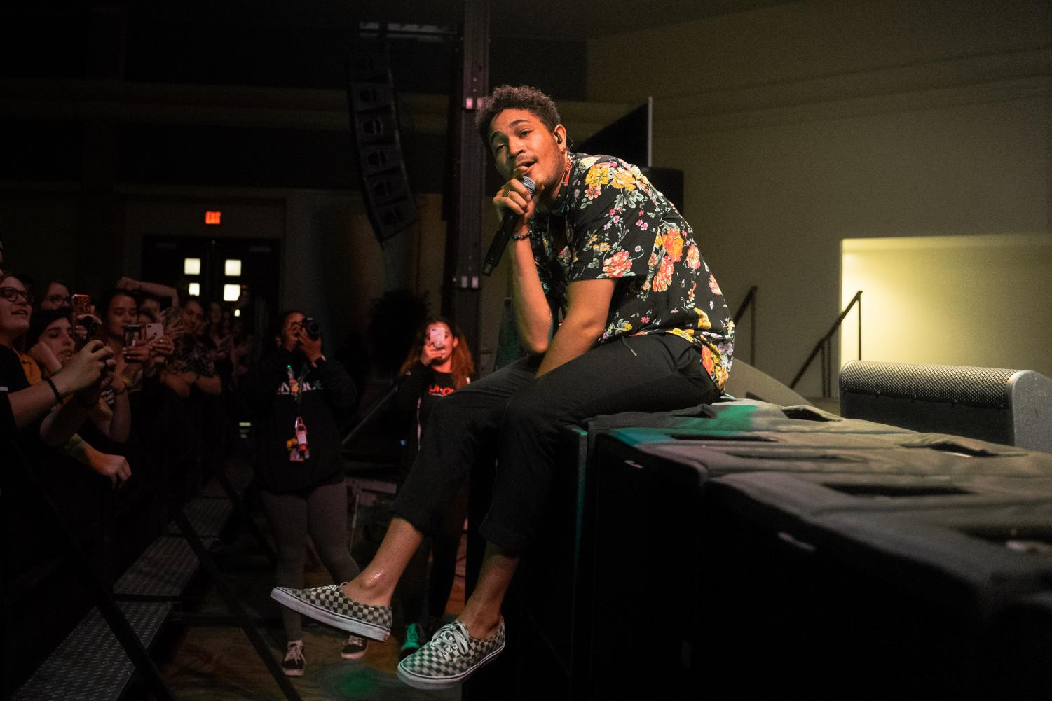 Bryce Vine performs in the University Union Ballroom on Thursday, April 18, 2019. Vine ended his performance by announcing to the audience that his upcoming album