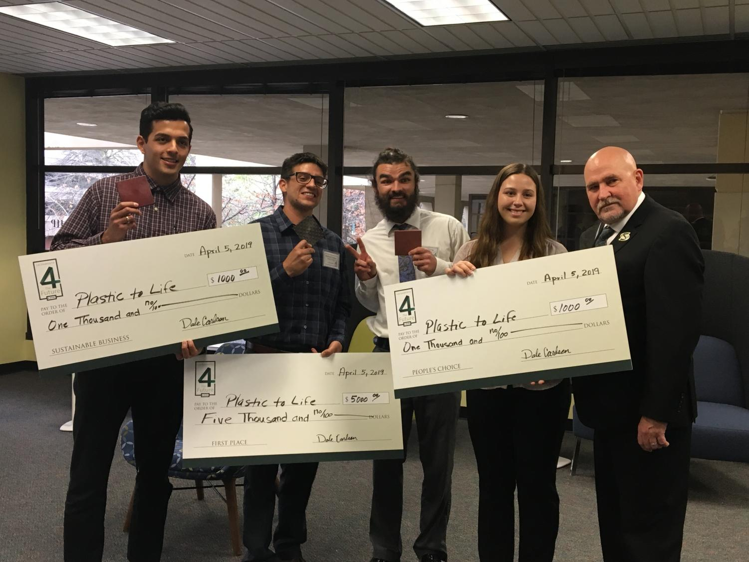 Humboldt State's 'Plastic to Life' student entrepreneur team poses with Sac State university president Robert Nelsen. Plastic to Life won first place overall, along with the Sustainability Award and People's Choice award