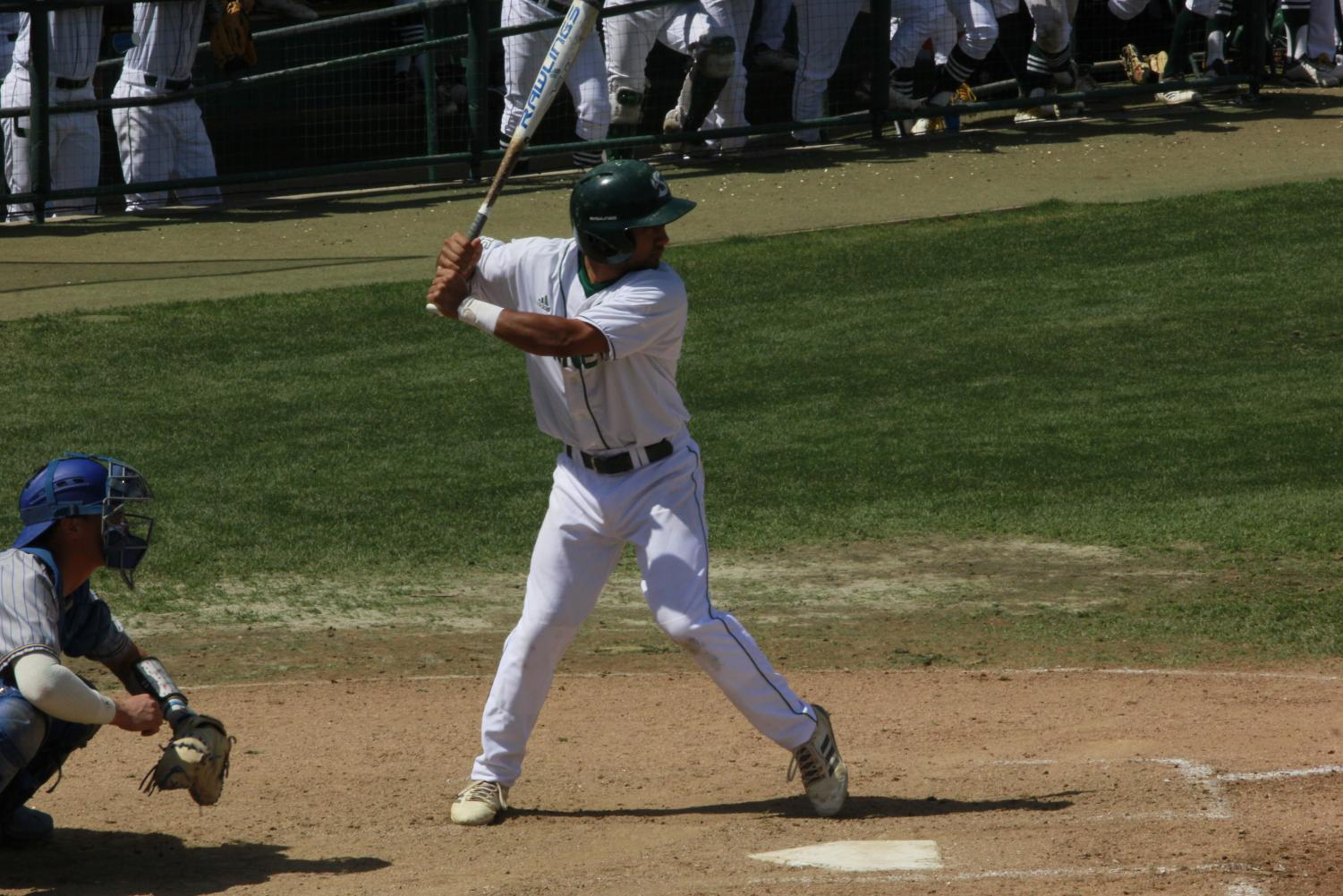 Sophomore+infielder+Keith+Torres+waits+for+a+pitch+in+a+5-4+win+Sunday+over+CSU+Bakersfield+at+John+Smith+Field.+Torres+had+one+hit+and+one+walk+in+the+win.