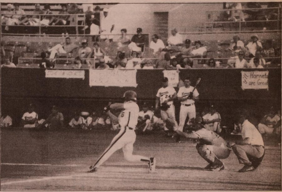 Hometown support wasn't enough to keep the Hornets baseball team from losing a 12-inning title game in May of 1987. It was the Hornets' second series appearance in three years.