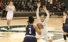 Sac State junior forward Hannah Friend guards Antelope Valley senior guard Samantha Earl in the Hornets 86-80 win Dec. 2 at the Nest. Friend is one of four players transferring from the program this offseason.