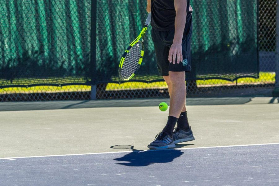 Johannes+Gjerdaker+prepares+for+a+serve+against+Yale+University+at+Sac+State+on+March+15.+Gjerdaker+was+one+of+three+players+to+win+against+Yale+in+singles.