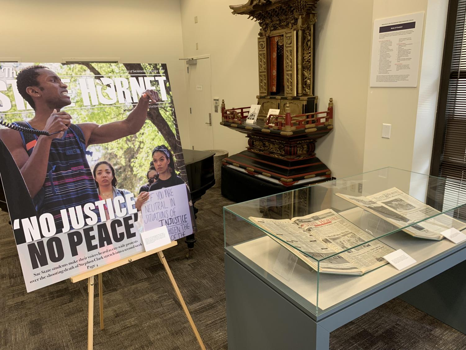 Exhibit highlights include more recent events, such as campus reactions to Stephon Clark's death , left, and a 1998 issue celebrating the volleyball team's Big Sky Conference championship, middle.