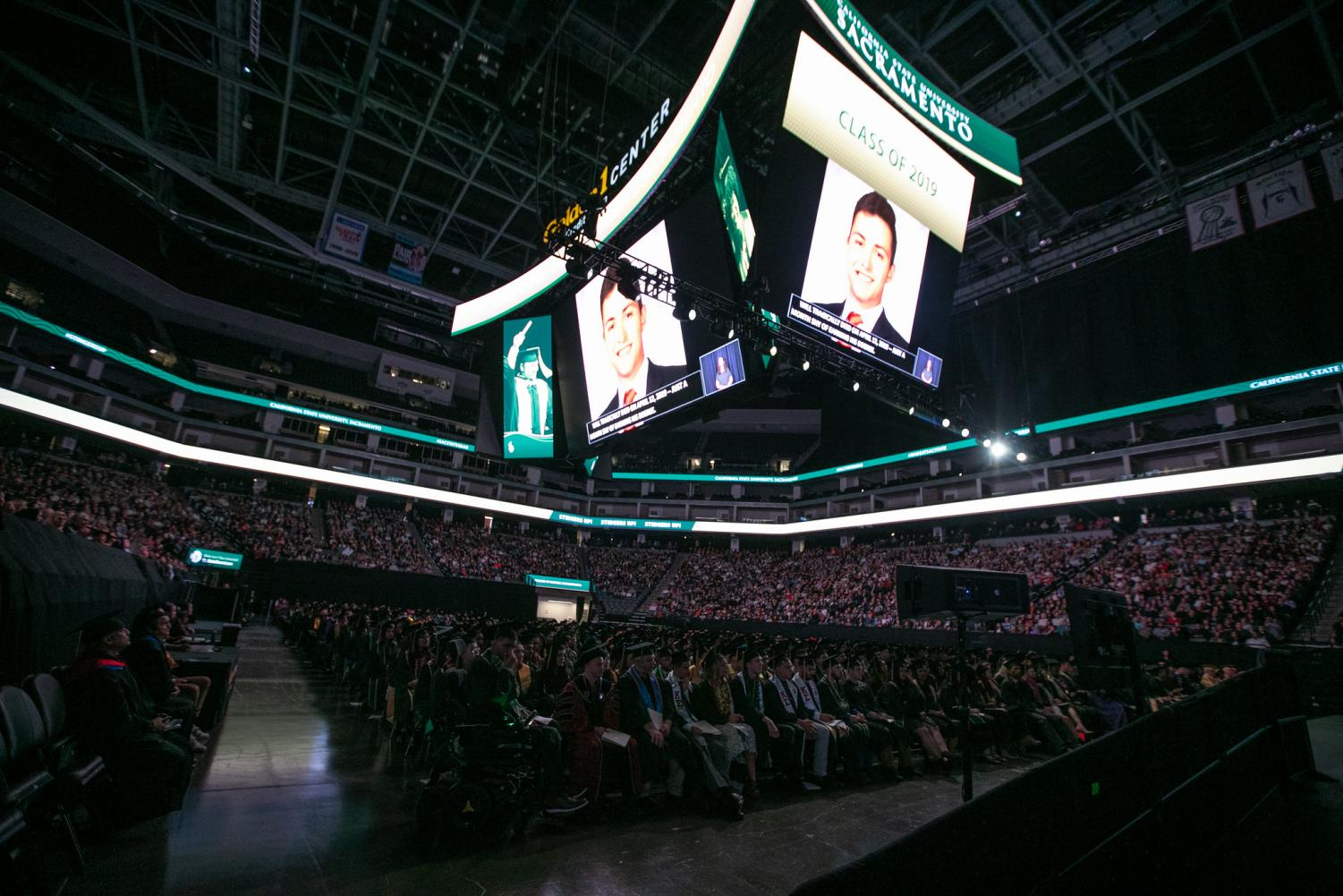Images of William Molina were displayed on monitors at the Golden 1 Center on Saturday, May 18 at Sac State's College of Business Administration commencement ceremony. Both Sac State President Nelsen and graduate Mia Kagianas paid tribute to him during their speeches, citing Molina's impact on the campus community.