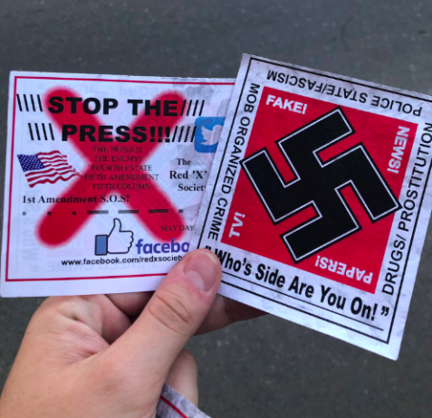 Flyers were dropped on both sides of the Guy West Bridge via aerial drone during Sac State's annual Farm to Fork festival. The flyers featured anti-media propaganda, with one reading 'Stop the press!!!' and another featuring a black swastika on a red background.