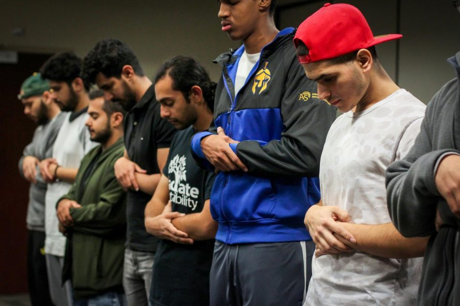 Muslim+students+gathered+in+the+Auburn+room+of+the+recently+renovated+Union%2C+where+they+held+a+Jumah%2C+or%2C+Friday+prayer+on+April+12.