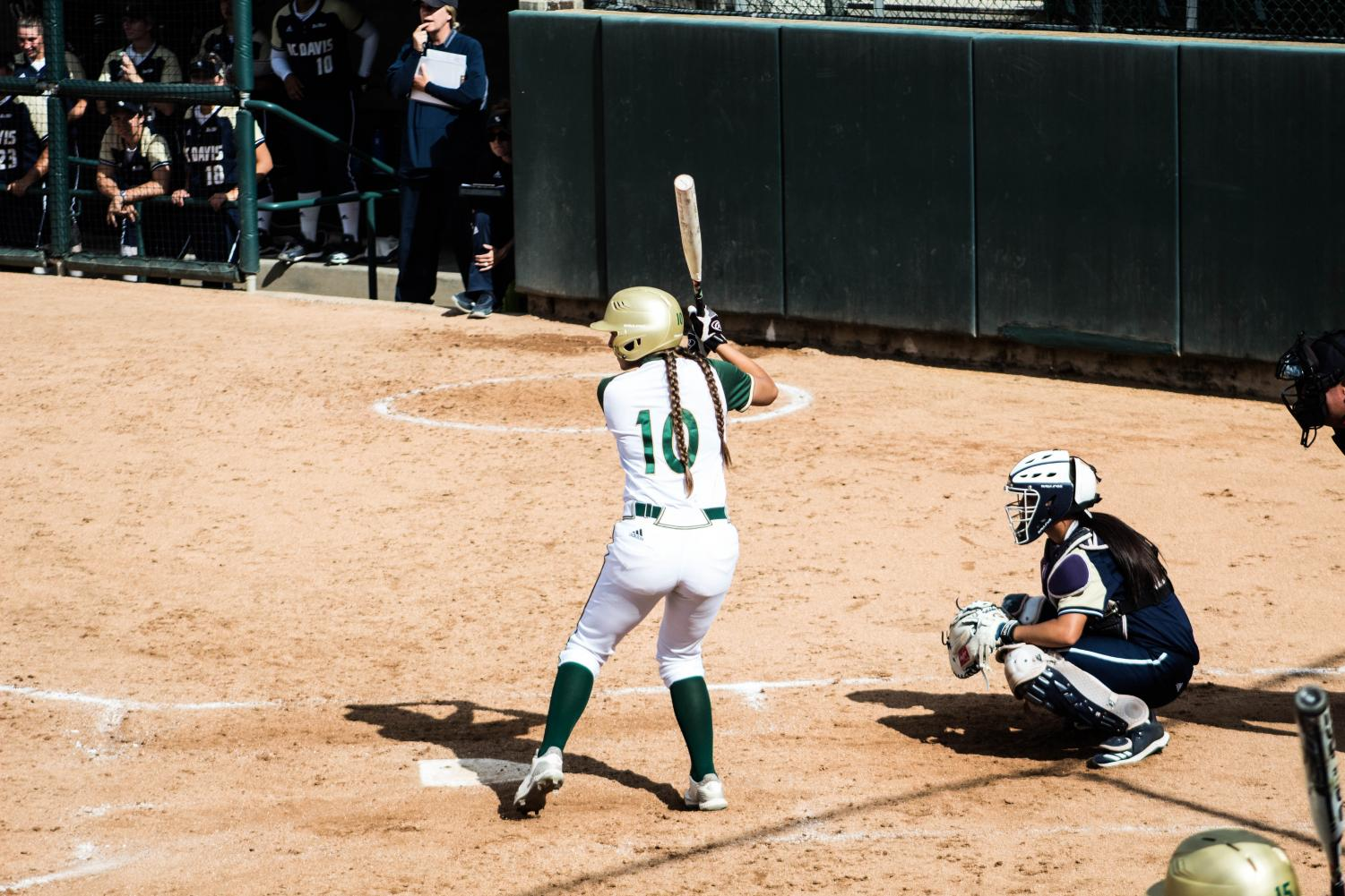Softball player Shea Graves steps up to bat against UC Davis on Tuesday, April 30. The Hornets beat the Aggies 6-1.