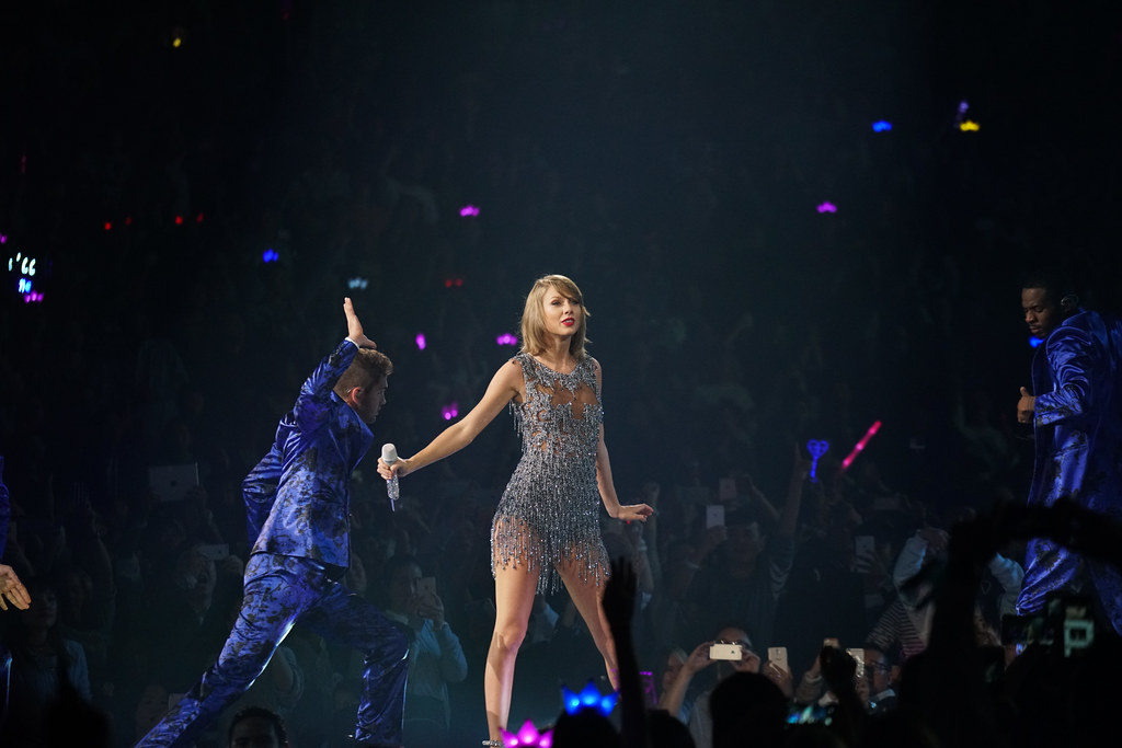Taylor Swift performs in Shanghai in 2015 as part of her 1989 World Tour. Swift's latest single, 'Me!' features Brendon Urie of Panic! at the Disco.