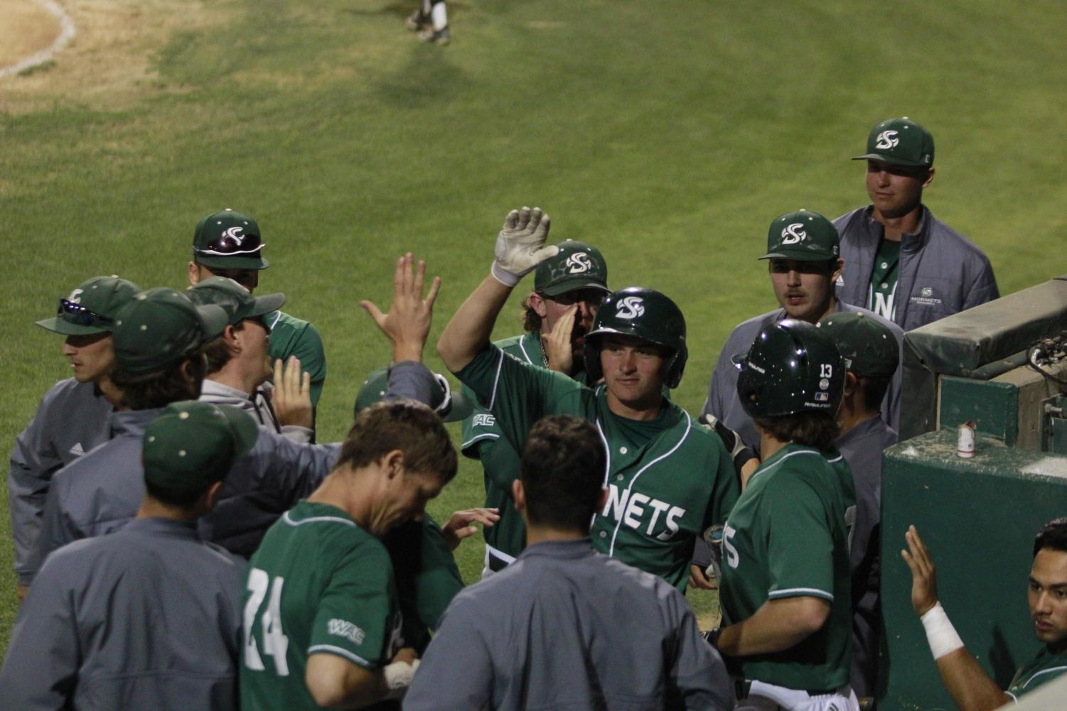 Sac State sophomore catcher Dawsen Bacho celebrates with his teammates upon returning to the dugout after scoring a run in a 4-3 win over Nevada Tuesday at John Smith Field. With the win, the Hornets now have won 30 plus games for the eighth straight season.