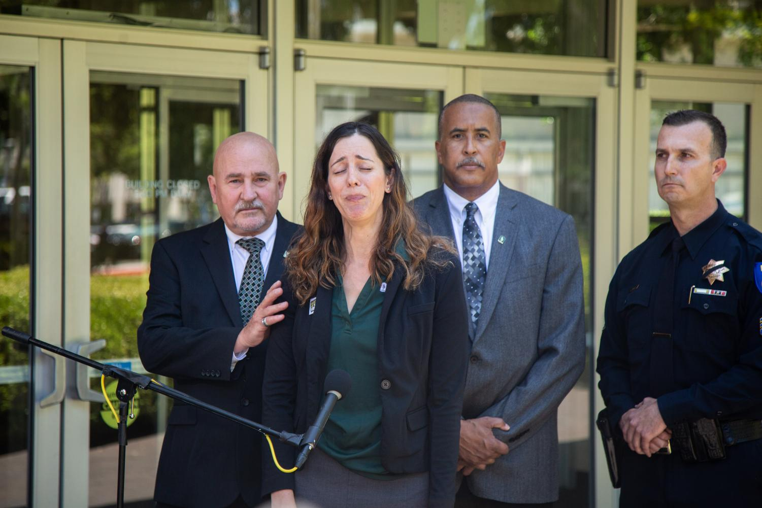 CSUS Career Center Director Melissa Repa talks about Tara O'Sullivan at a press conference in front of Sacramento Hall on Thursday, June 20. O'Sullivan was a Sacramento Police officer and Sac State alumna was killed in the line of duty Wednesday night while responding to a domestic violence call.