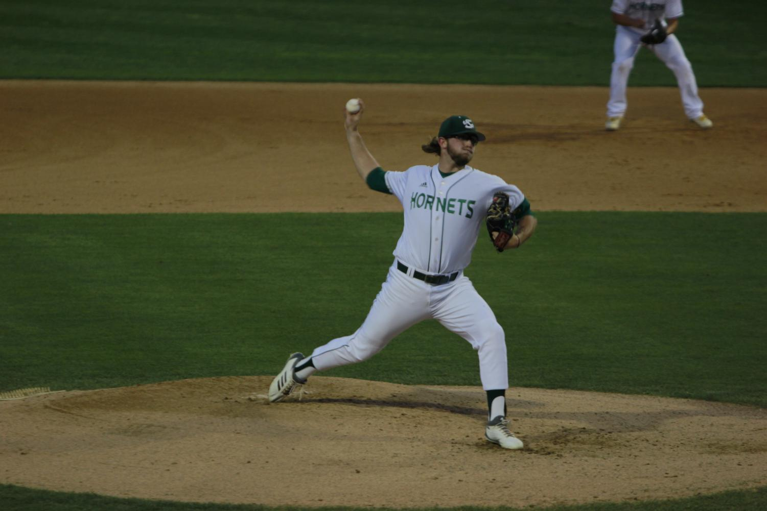 Sac State junior pitcher Austin Roberts throws a pitch in a 6-0 victory against Cal on March 26, 2019 at John Smith Field. Roberts was selected by the Pittsburgh Pirates in the eighth round of the 2019 MLB Draft.
