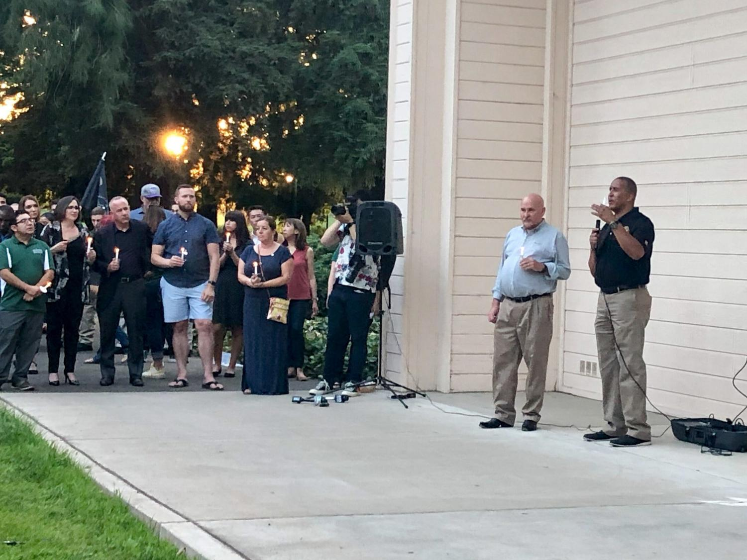 President Nelsen and LECS Founder Shelby Moffatt were among those who gave speeches at the vigil for slain Sac PD officer and Sac State alumna Tara O'Sullivan.
