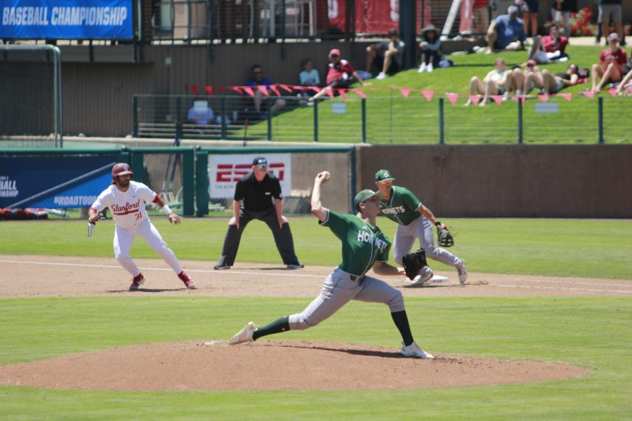 Sac+State+sophomore+pitcher+Scott+Randall+throws+a+pitch+against+Stanford+University+on+Friday%2C+June+1%2C+2019+at+Sunken+Diamond.+The+Hornets+lost+to+the+Cardinal+11-0.