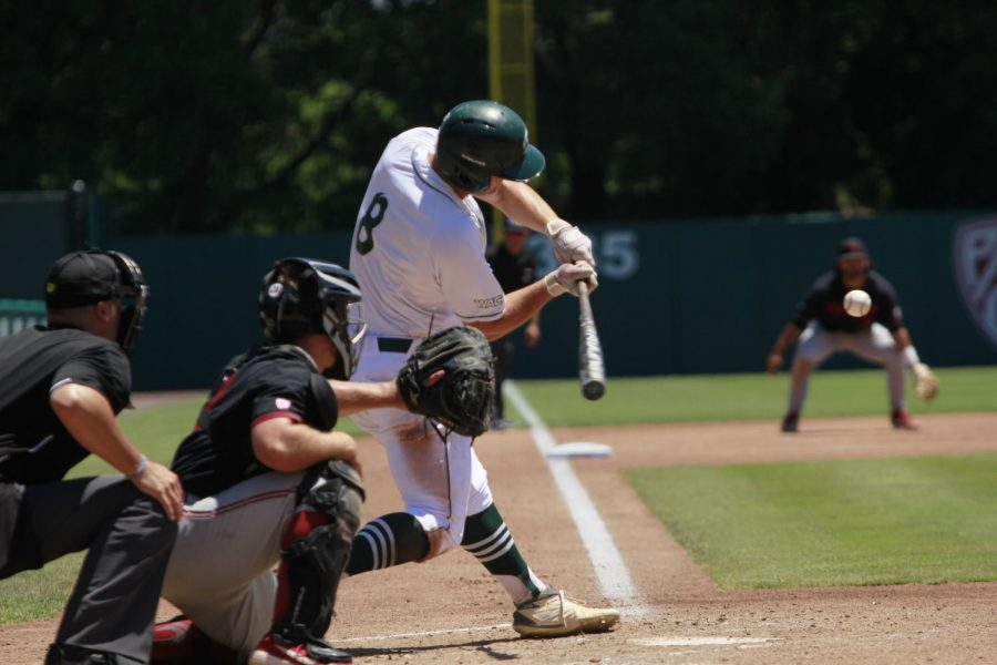 Sac+State+sophomore+infielder+Steven+Moretto+swings+at+a+pitch+against+Stanford+University+on+Sunday%2C+June+3%2C+2019+at+Sunken+Diamond.+The+Hornets+lost+to+the+Cardinal+12-3.