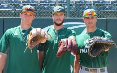 Left to right, Sacramento State sophomore infielder Steven Moretto, senior pitcher Tanner Dalton and freshman catcher Martin Vincelli-Simard are three of the six Canadian players on the Sacramento State baseball team this past season.