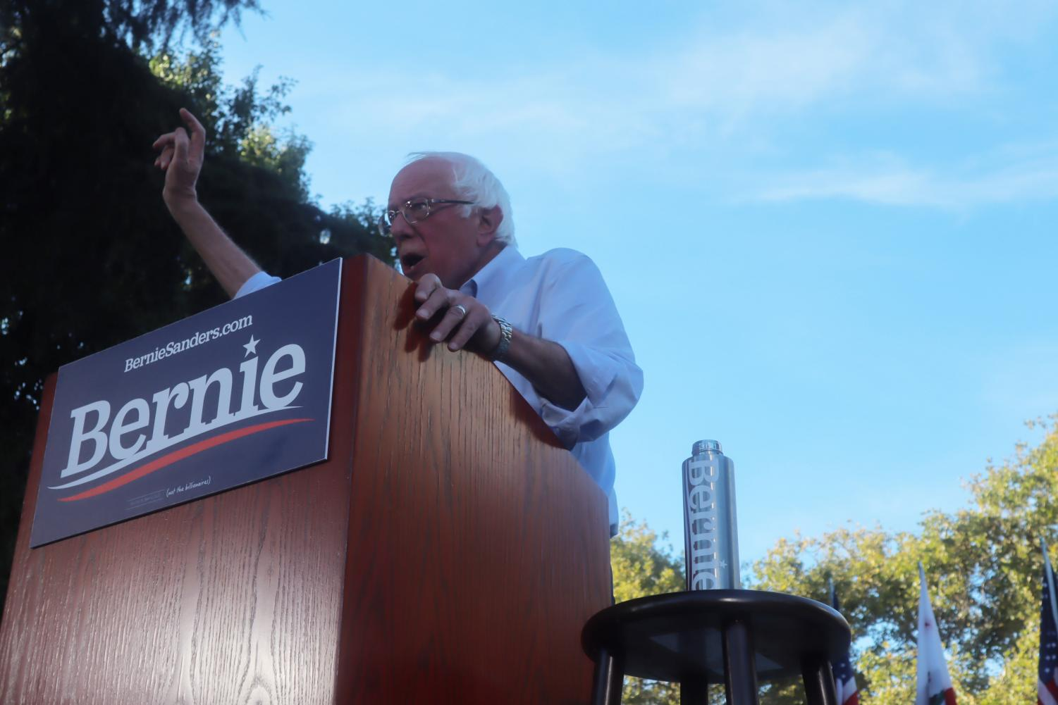 Presidential candidate Bernie Sanders addresses the crowd at Cesar Chavez Plaza on Thursday, Aug. 22, 2019. Sanders speech focused on his platform of climate change, Medicare for All, and student debt.