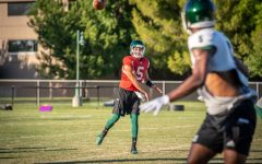 Sac State junior quarterback Kevin Thomson throws a pass during training camp on Tuesday, August 12 at the practice field. Thomson averaged 9.52 yards per completion in 2018, ranking second in program history only trailing the record he set in 2017.