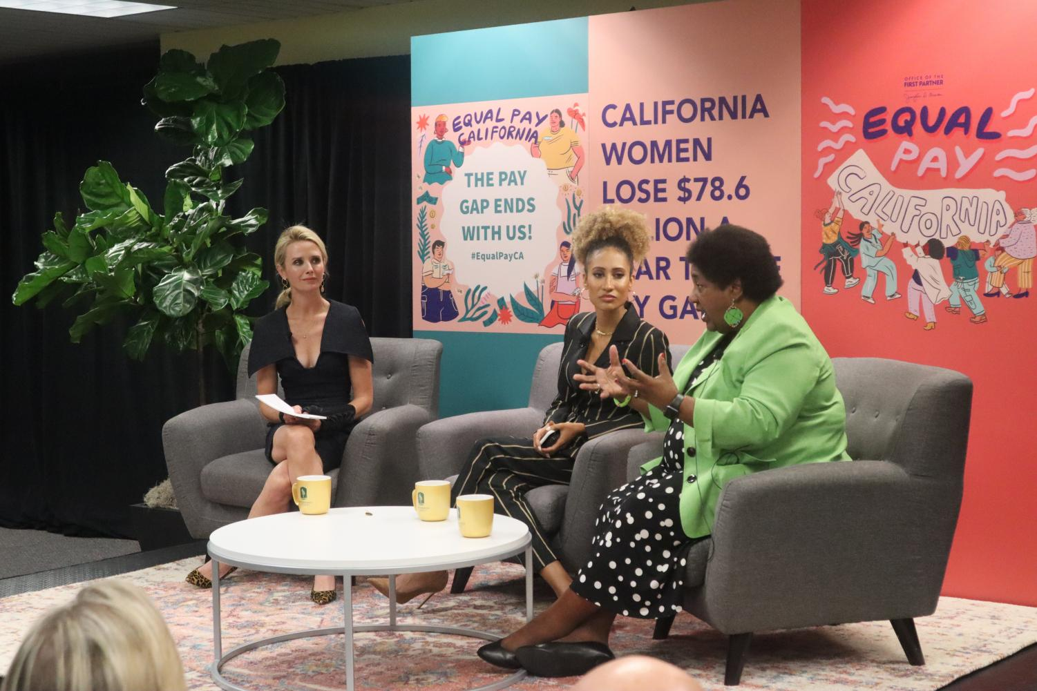 From left, California First Partner Jennifer Siebel Newsom, Sac State alumna and author Elaine Welteroth and California Assemblymember Shirley Weber discuss gender pay disparities at an equal pay forum in Sac State's Carlsen Center on Tuesday, August 27.