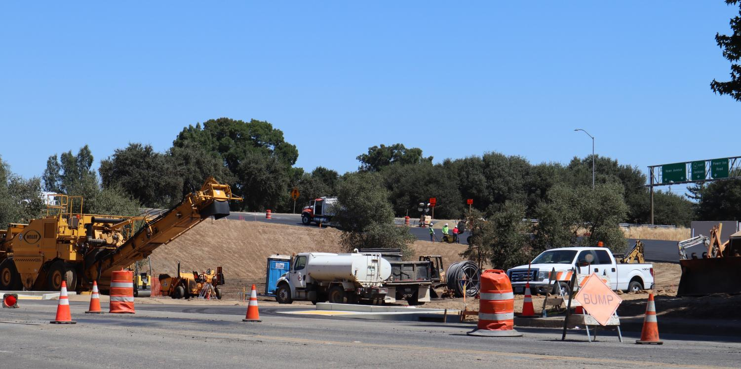 Construction equipment at the partially completed Hornet Drive off-ramp Friday. Caltrans expects the off-ramp to be open but not complete Monday morning.