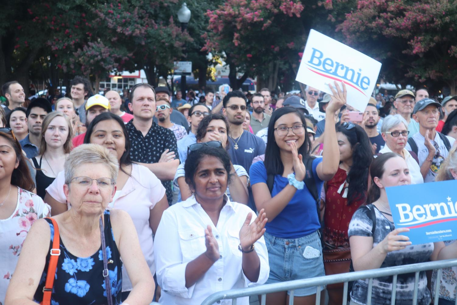 Attendees+watch+Bernie+Sanders+speak+at+a+Thursday%2C+Aug.+22%2C+2019%2C+campaign+rally+at+Cesar+Chavez+Plaza.+Sanders+said+that+to+bring+about+the+changes+that+compose+his+platform+it+would+take+work+from+his+supporters+beyond+winning+the+presidency.
