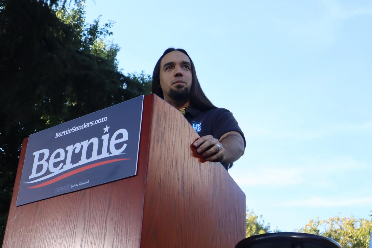 Joaquin+Chavez+addresses+the+crowd+at+a+Bernie+Sanders%27+campaign+rally+at+Cesar+Chavez+Plaza+on+Thursday%2C+Aug.+22%2C+2019.+Chavez+spoke+on+how+Sanders+supported+the+University+of+California+unions+while+other+presidential+candidates+did+not.