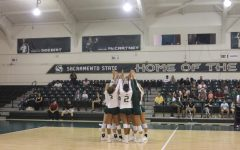 The Sac State Women's volleyball team comes together right before their last matchup of the tournament against Nevada. The Hornets won the tournament despite losing to Nevada.