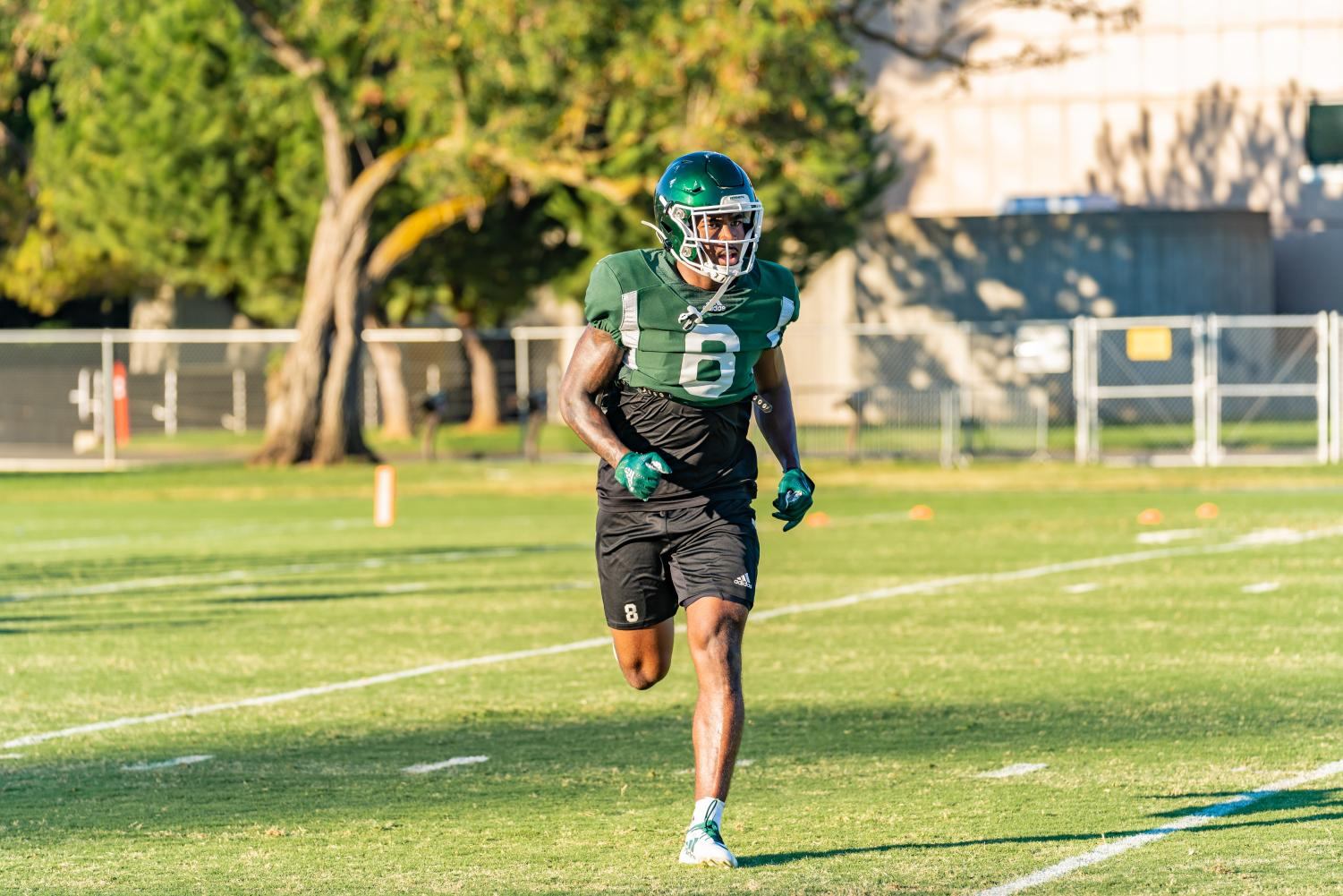 Sac+State+senior+defensive+back+Caelan+Barnes+sprints+during+training+camp+on+Tuesday%2C+August+12+at+the+practice+field.+Barnes+started+all+ten+games+at+cornerback+for+Sac+State+in+2018.