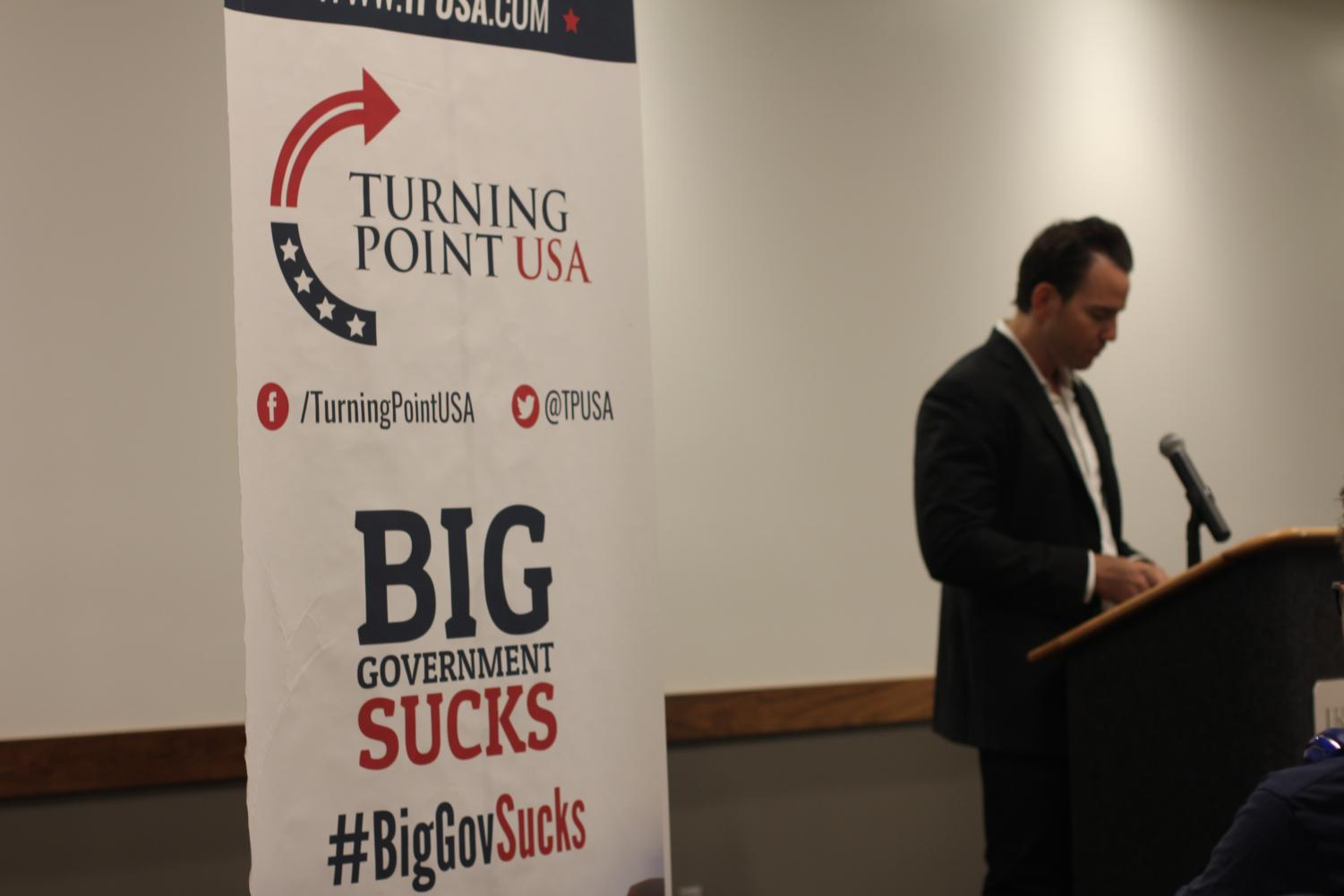 Assemblymember Kevin Kiley takes the stage on Thursday, Sept. 26 at an event organized by Sac State's campus chapter of Turning Point USA, a conservative group. The chapter's president Megan Masten said 69 people were in attendance at Thursday's event.