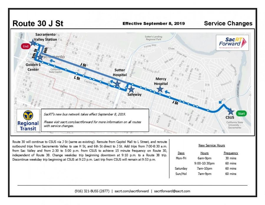 SacRT will change bus routes around Sac State on Sunday ... on university of the pacific map, unlv university map, sacramento state campus, virginia university map, sacramento visitor map, university of michigan map, sac campus map, washington university map, uc merced university map, northern az university map, university of southern california map, sacramento state baseball field, sacramento state alumni, vol state campus map, sacramento state school, central arkansas university map, sacramento state portfolio, delaware university map, university of south florida map, saint peter's university map,