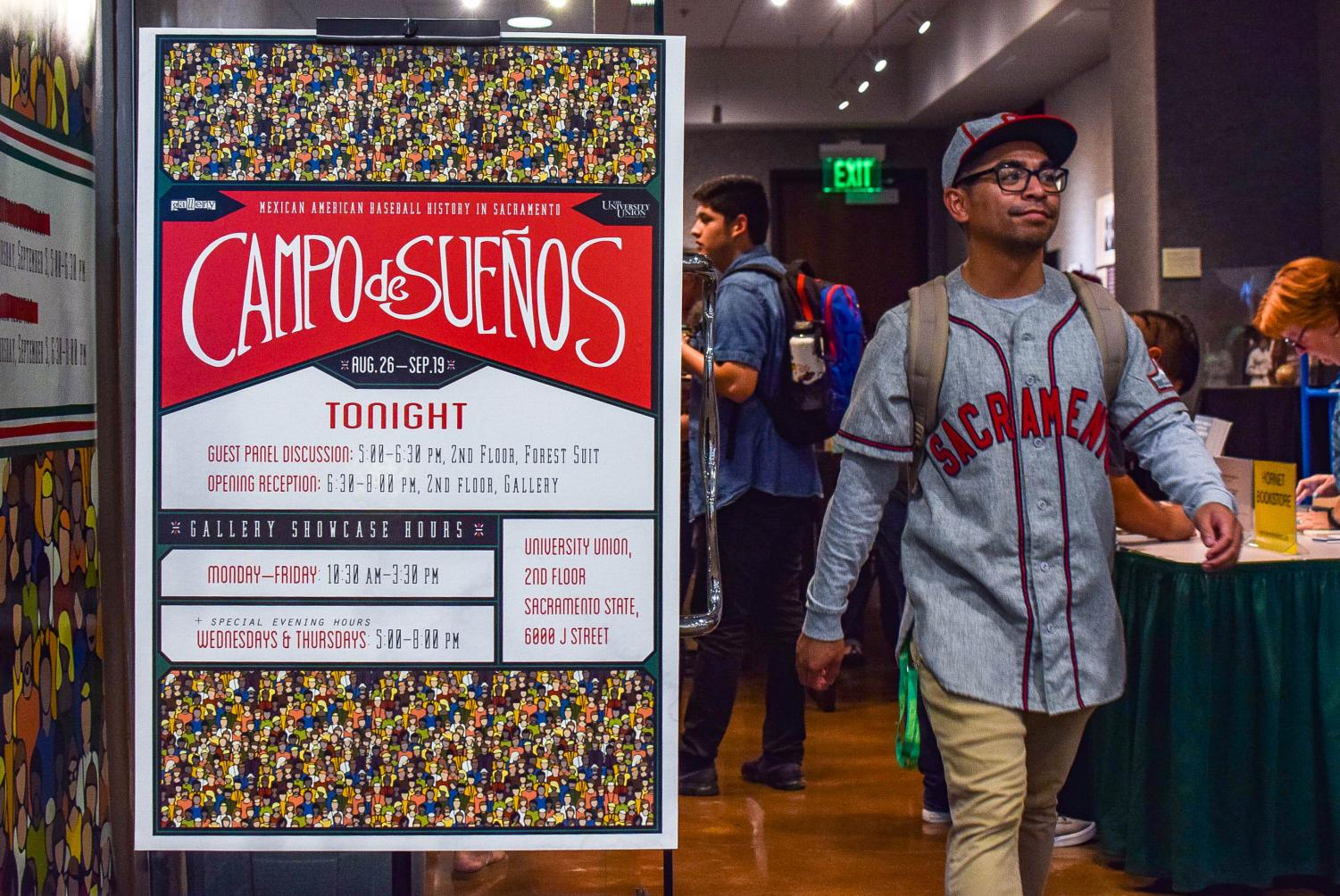 The front sign of Sac State's 'Campo de Sueños' exhibit in the University Union Thursday, Sept. 5. The exhibit showcased Mexican American baseball and softball history in Sacramento.