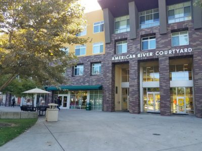 The American River Courtyard, one of the residence halls located at Sac State. In the university