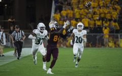 Arizona State junior wide receiver Frank Darby catches a pass against Sac State on Friday, Sept. 6 at Sun Devil Stadium. The Sun Devils entered the game as 35 point favorites but narrowly defeated the Hornets 19-7.