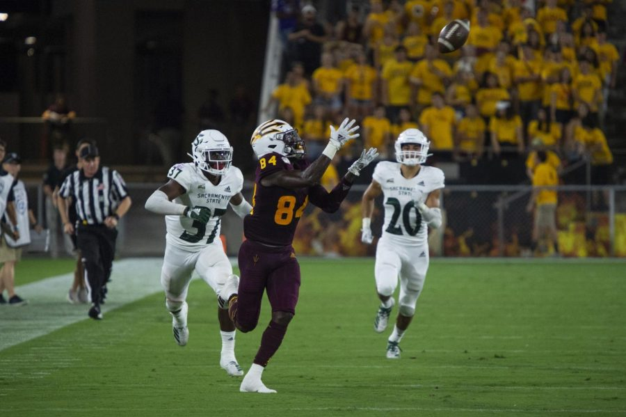 Arizona+State+junior+wide+receiver+Frank+Darby+catches+a+pass+against+Sac+State+on+Friday%2C+Sept.+6+at+Sun+Devil+Stadium.+The+Sun+Devils+entered+the+game+as+35+point+favorites+but+narrowly+defeated+the+Hornets+19-7.