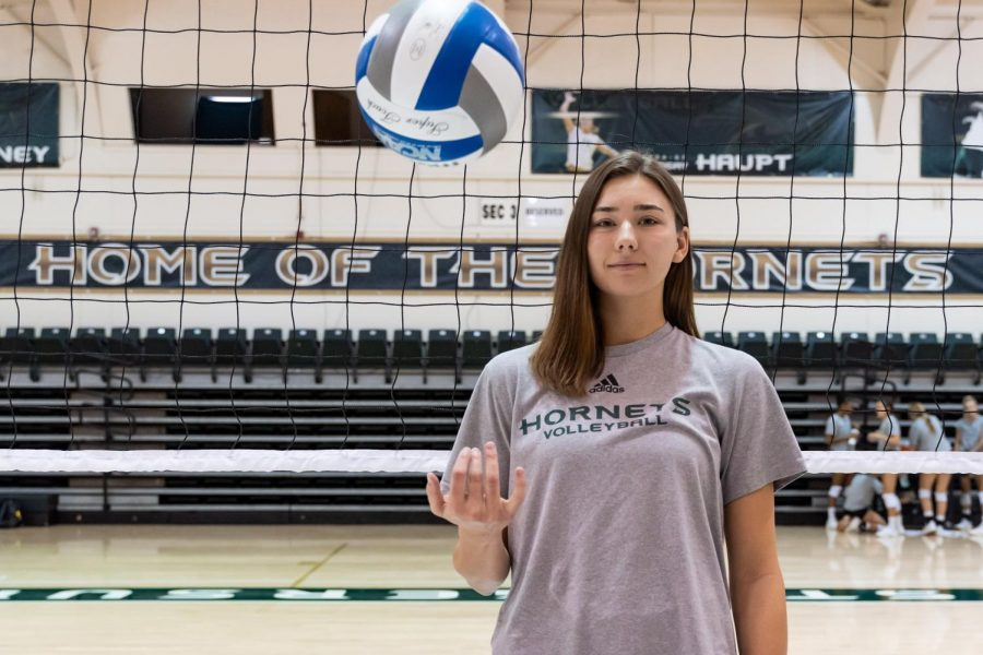 Senior+outside+hitter+Sarah+Davis+poses+for+a+photo+before+practice+on+Monday%2C+Sept.+23+at+The+Nest.+Davis+is+the+co-captain+and+lone+senior+on+a+young+Sac+State+volleyball+team.