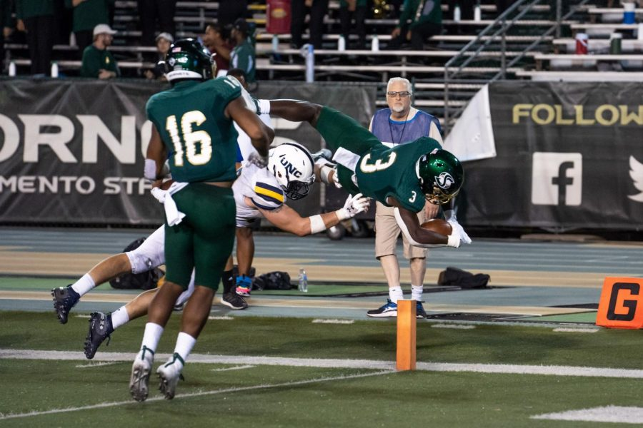 Sac State freshman running back Marcus Fulcher dives for a touchdown against Northern Colorado Saturday, Sept. 14 at Hornet Stadium. The Hornets will open Big Sky Conference play against Eastern Washington at home Saturday.
