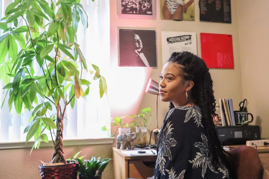 Maya Coleman in her 'personal content creating space' Sept. 18, 2019. Coleman noted that this space helps her to focus when creating content for her audience.