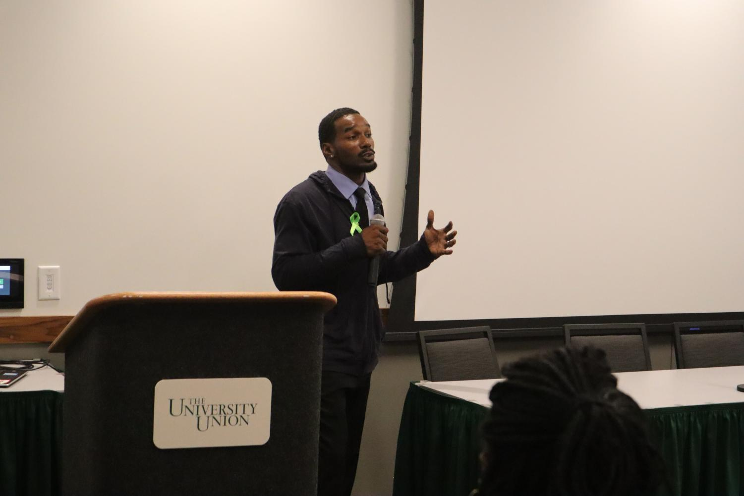 Keynote speaker Kevin Berthia explained his story dealing with depression and a suicide attempt in 2005. He spoke at Sac State's Suicide Prevention town hall on Thursday.