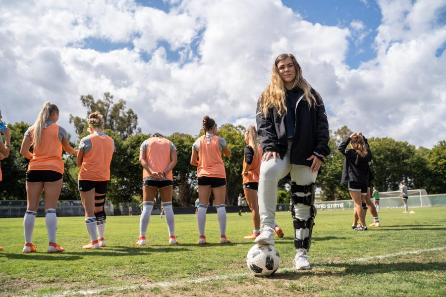 Sac State senior goalkeeper Kaylyn Evans poses for a photo on Wednesday, Sept. 18 at Hornet Field. Evans tore her ACL in the first team practice of her senior year on July 22.