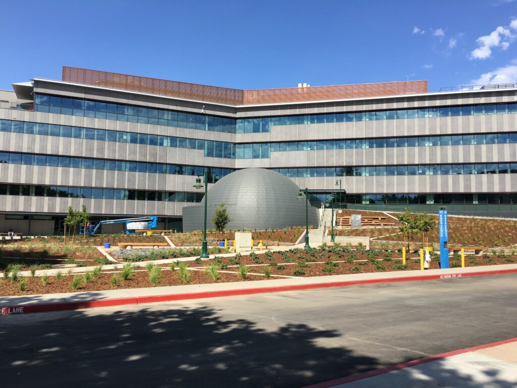 Front view of Sac State's new planetarium. The planetarium is part of the Ernest E. Tschannen Science complex that opened earlier this semester.