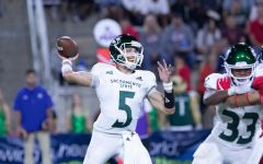 Sac State junior quarterback Kevin Thomson throws a pass against Fresno State on Saturday, Sept. 21 at Bulldog Stadium. The Bulldogs defeated the Hornets 34-20.
