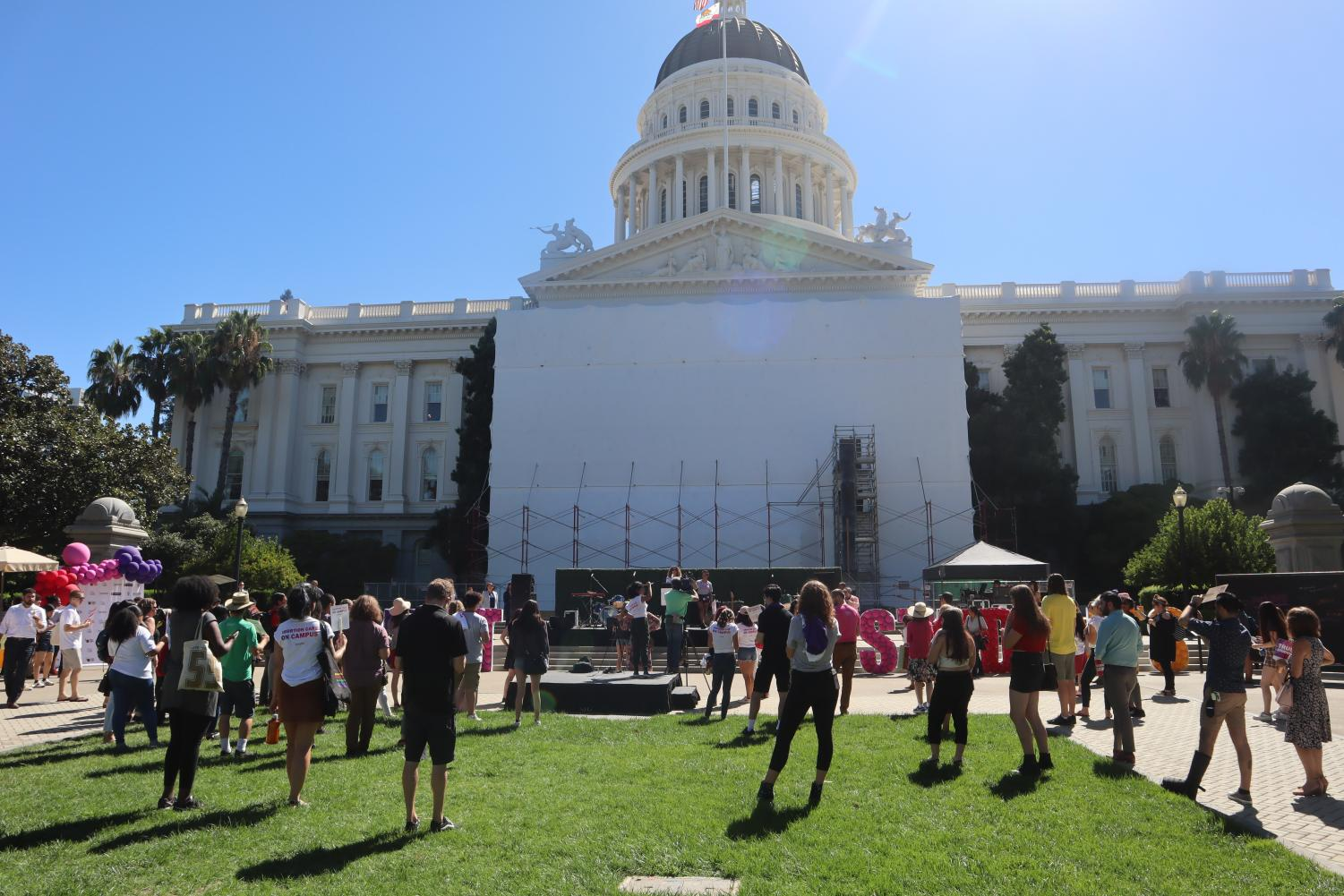 California college students and Senator Connie Leyva rallied in support of abortion care on public college campuses such as Sacramento State at the Capitol building in Sacramento Tuesday. Abortion care would be available for students at CSU and UC campuses starting in 2023 if the bill is signed.