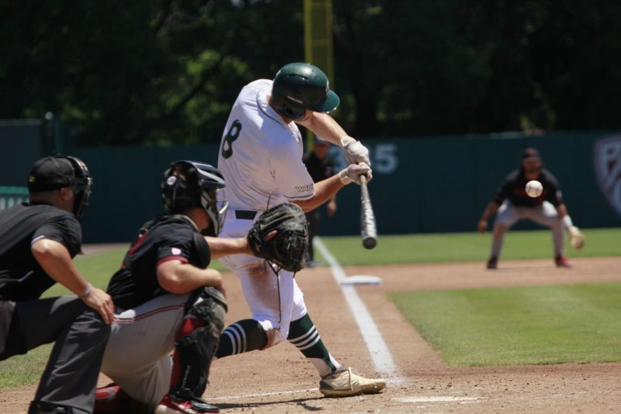 Sac+State+junior+infielder+Steven+Moretto+swings+at+a+pitch+against+Stanford+University+on+Sunday%2C+June+3%2C+2019+at+Sunken+Diamond.+The+California+Legislature+recently+approved+Senate+Bill+206+that+would+allow+college+athletes+to+profit+off+their+likeness+and+is+now+awaiting+a+signature+from+Gov.+Gavin+Newsom.