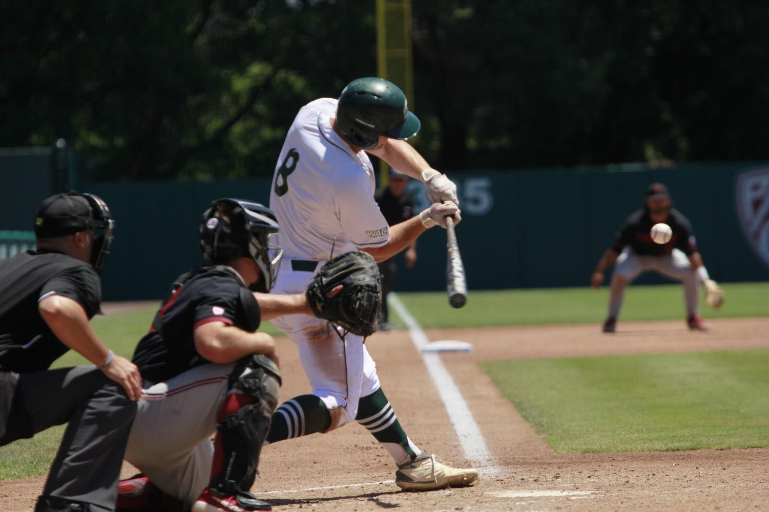 Sac State junior infielder Steven Moretto swings at a pitch against Stanford University on Sunday, June 3, 2019 at Sunken Diamond. The California Legislature recently approved Senate Bill 206 that would allow college athletes to profit off their likeness and is now awaiting a signature from Gov. Gavin Newsom.