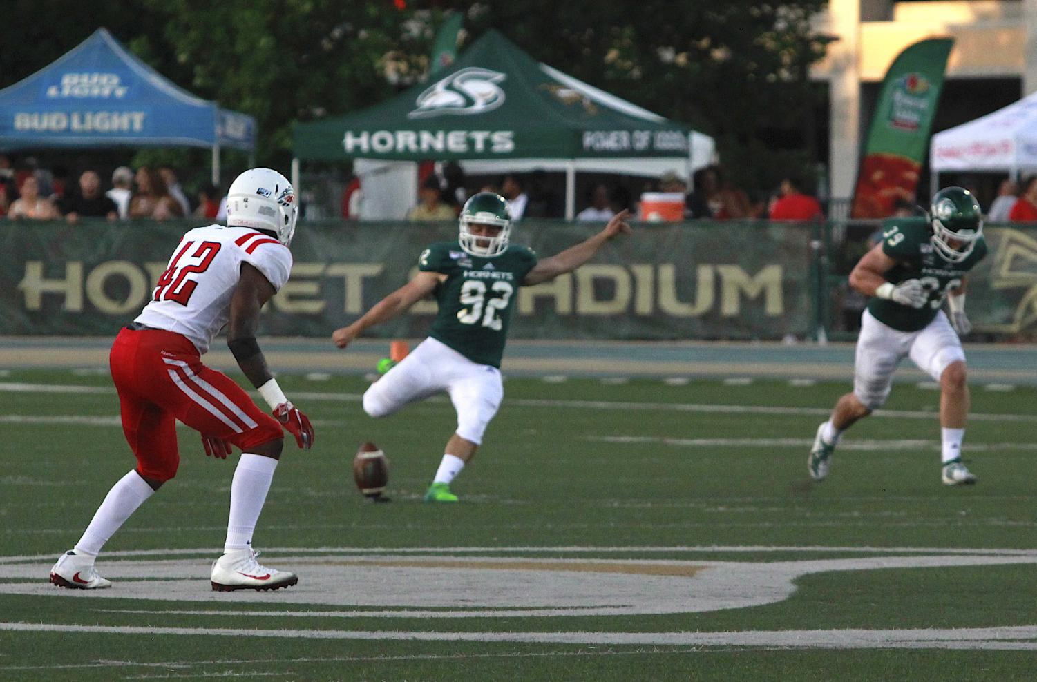 Sac+State+senior+kicker+Devon+Medeiros+prepares+to+kick+the+ball+against+Southern+Oregon+on+Saturday%2C+August+31%2C+at+Hornet+Stadium.+Medeiros+converted+all+nine+of+his+extra-point+attempts.