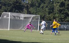 Sac State sophmore forward Benji Kikanovic attempts to make a goal against CSU Bakersfield on Sunday, Sept. 9, at Hornet Field. The Hornets lost to the Roadrunners 5-2, ending the team's undefeated record.