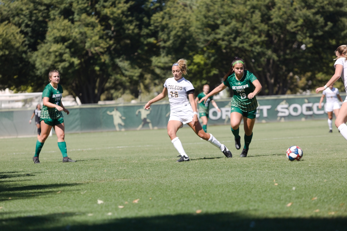 Sac State sophomore midfielder Camila Fonseca attempts to steal the ball against Toledo on Sunday, Sept. 15 at Hornet Field. Fonseca scored her first goal of the season in the 88th minute.