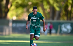 Sac State sophomore forward Arath Chavez dribbles the ball up field against Army on Friday, Sept. 6 at Hornet field. Chavez scored one goal to help lead his team to the 2-0 win.